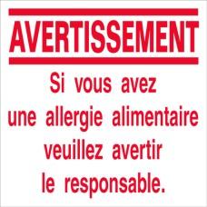 Avertissement Alergie