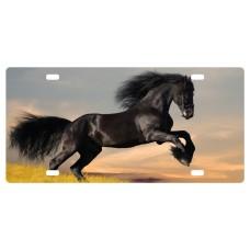 Plaque d'auto cheval noir