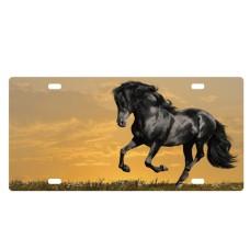 Plaque d'auto cheval fond jaune